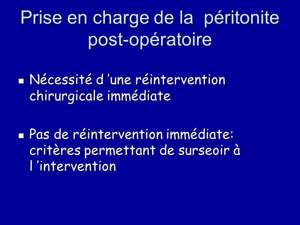 Prise en charge de la péritonite post-opératoire