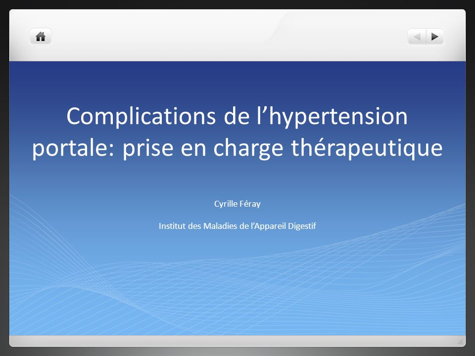 Complications de l'hypertension portale: prise en charge thérapeutique