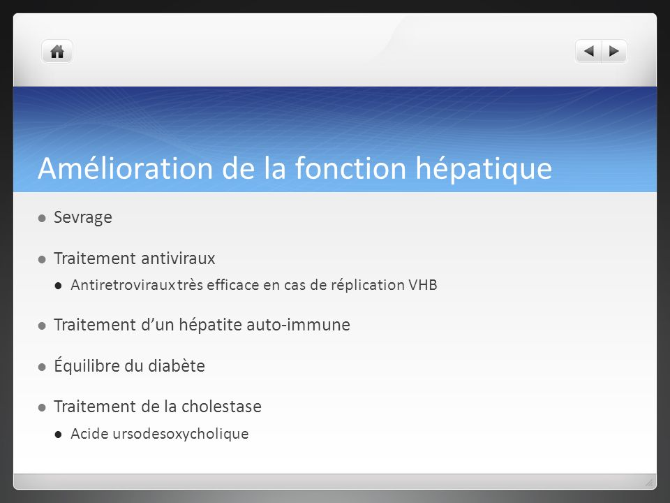 Amélioration de la fonction hépatique