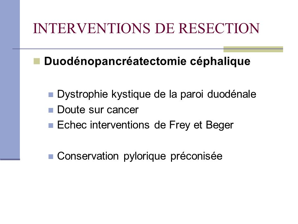 INTERVENTIONS DE RESECTION