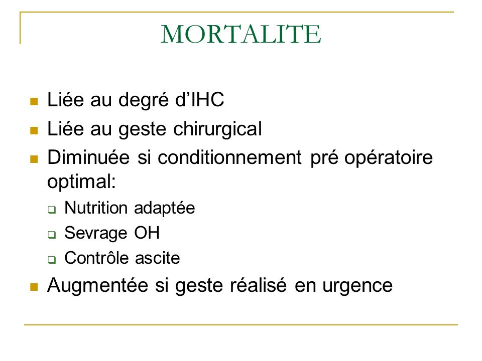 MORTALITE Liée au degré d'IHC Liée au geste chirurgical