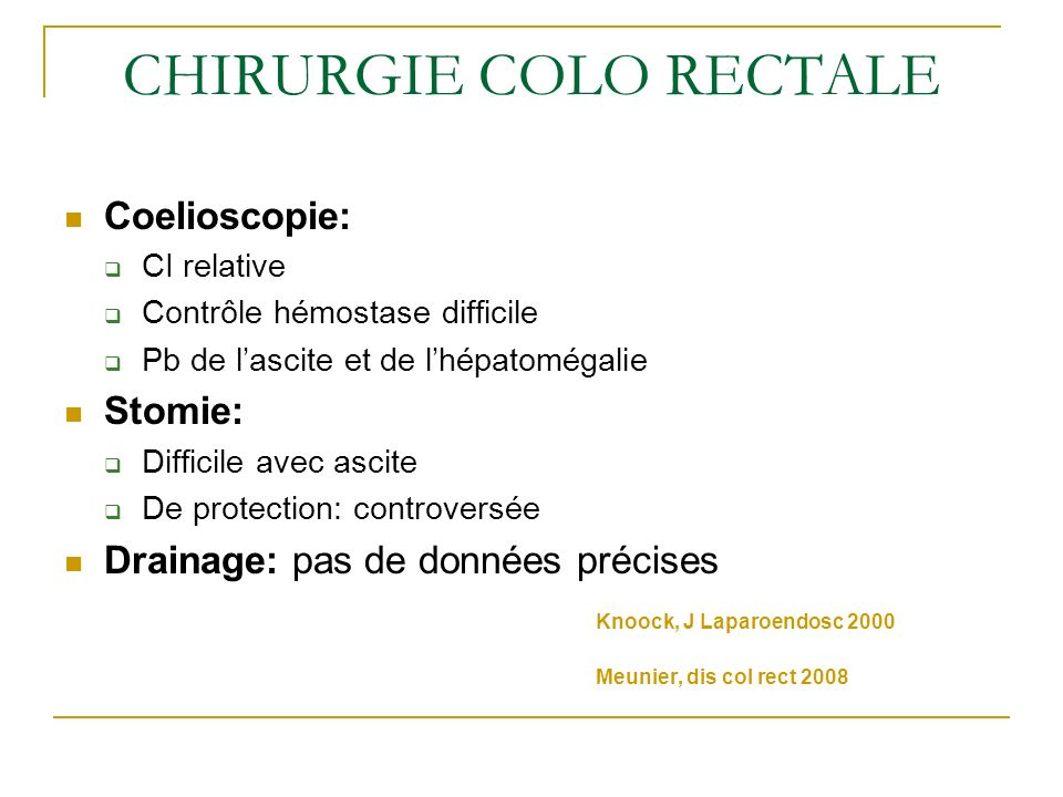 CHIRURGIE COLO RECTALE