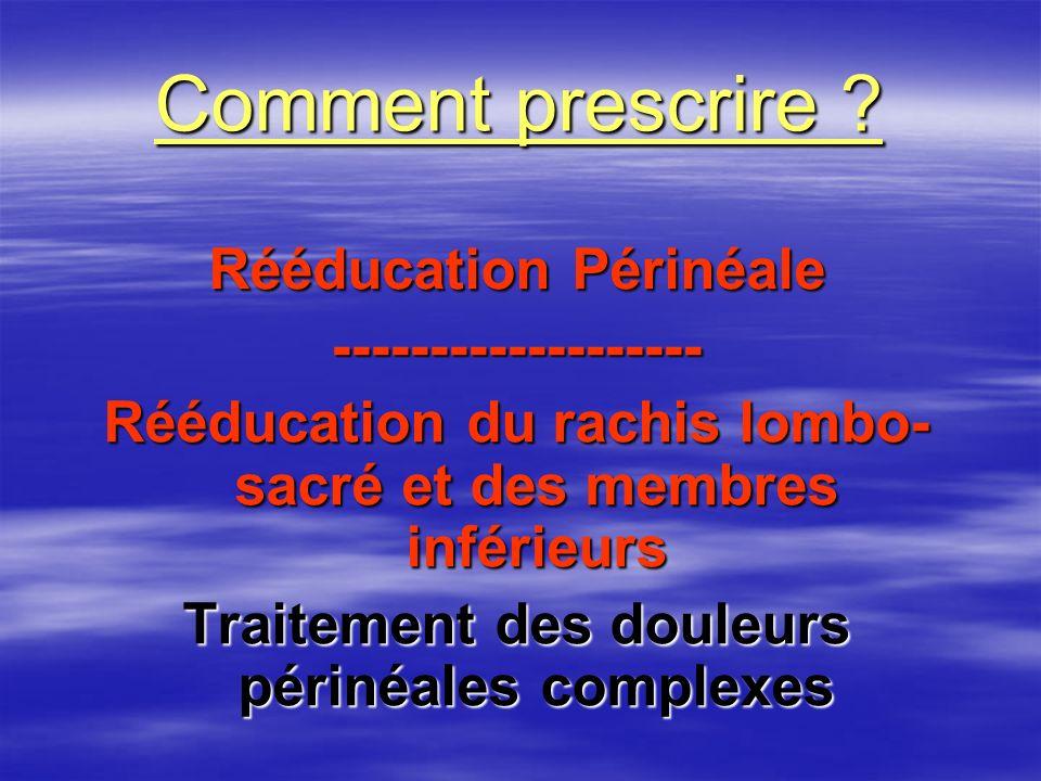 Comment prescrire Rééducation Périnéale -------------------