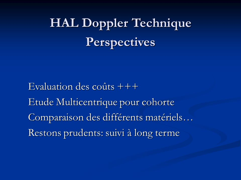 HAL Doppler Technique Perspectives