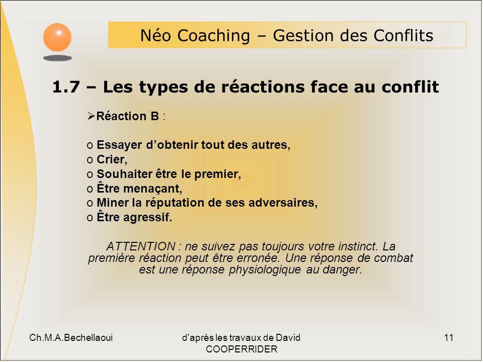 1.7 – Les types de réactions face au conflit