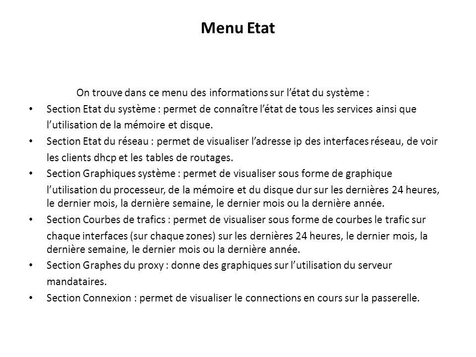 Menu Etat On trouve dans ce menu des informations sur l'état du système :