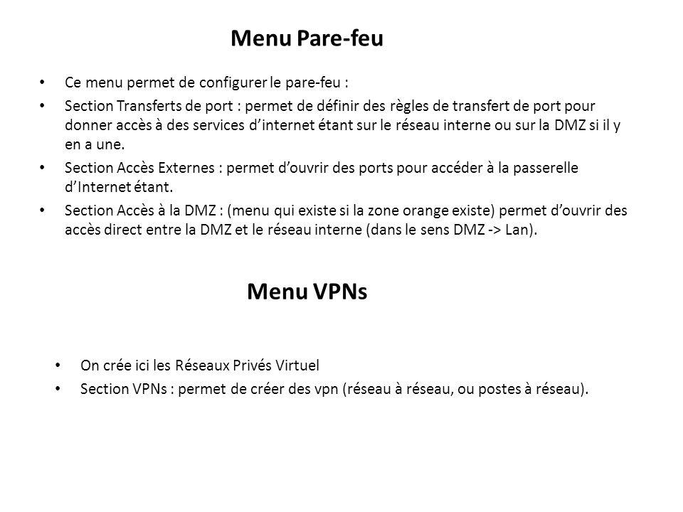 Menu Pare-feu Menu VPNs