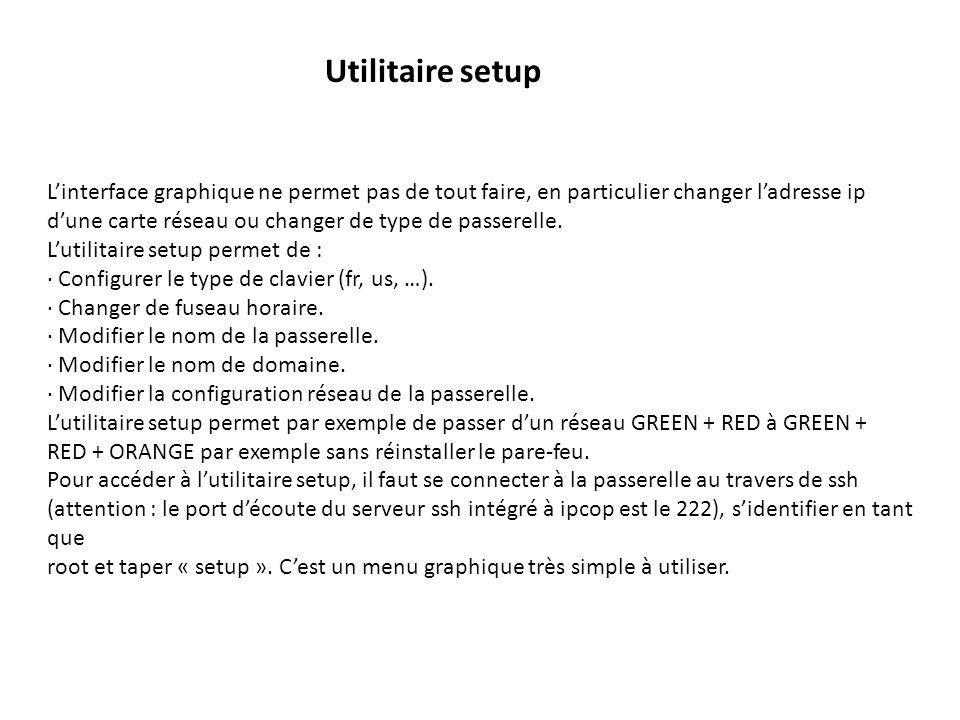 Utilitaire setup L'interface graphique ne permet pas de tout faire, en particulier changer l'adresse ip.