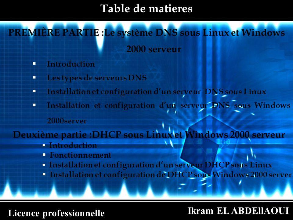 PREMIÈRE PARTIE :Le système DNS sous Linux et Windows 2000 serveur