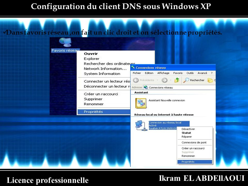 Configuration du client DNS sous Windows XP
