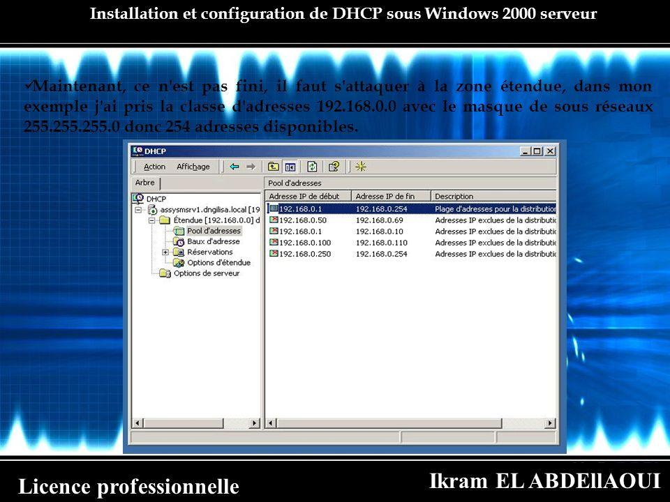 Installation et configuration de DHCP sous Windows 2000 serveur