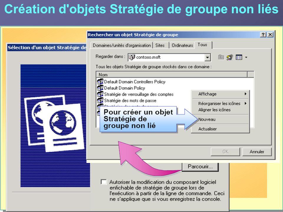 Création d objets Stratégie de groupe non liés