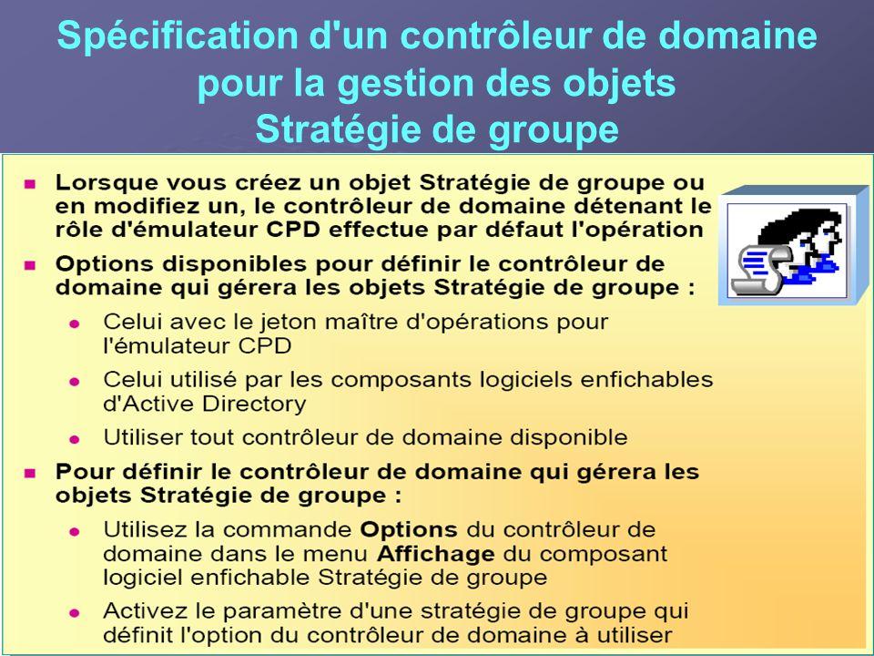 Spécification d un contrôleur de domaine pour la gestion des objets Stratégie de groupe