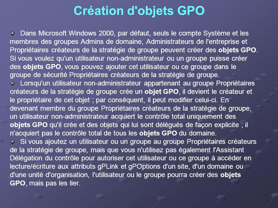 Création d objets GPO Dans Microsoft Windows 2000, par défaut, seuls le compte Système et les.
