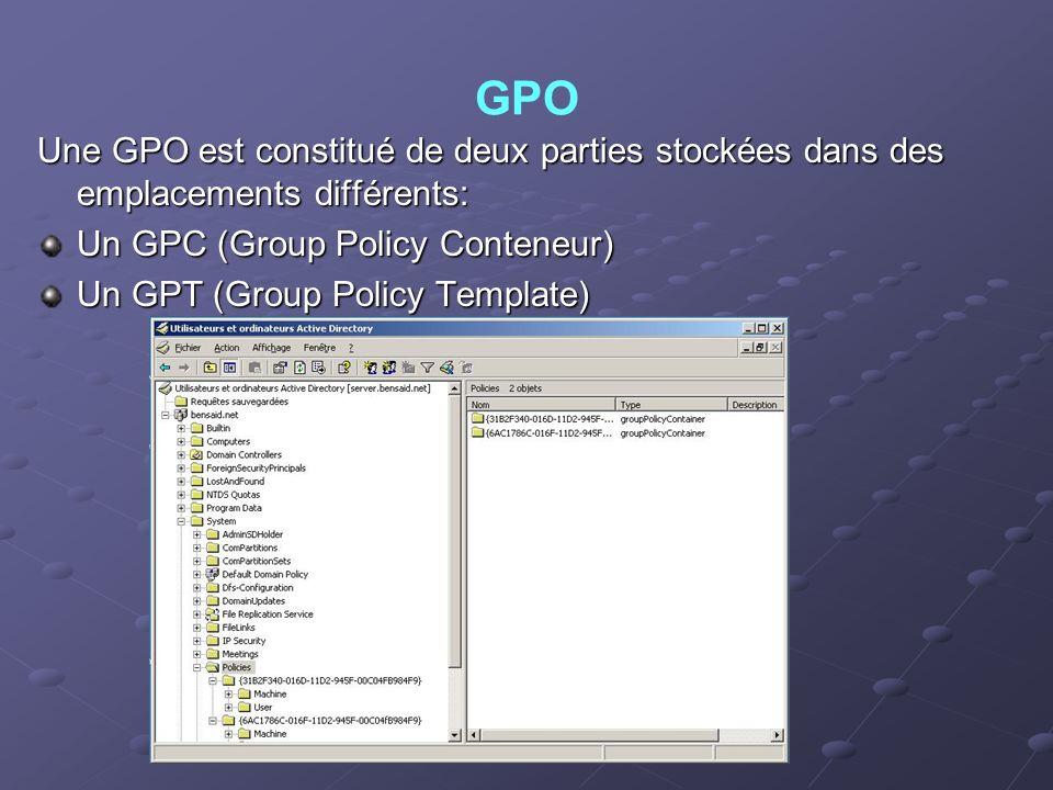 GPO Une GPO est constitué de deux parties stockées dans des emplacements différents: Un GPC (Group Policy Conteneur)