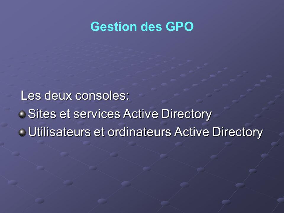 Gestion des GPO Les deux consoles: Sites et services Active Directory.