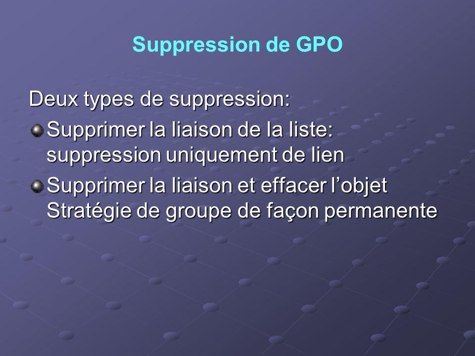 Suppression de GPODeux types de suppression: Supprimer la liaison de la liste: suppression uniquement de lien.