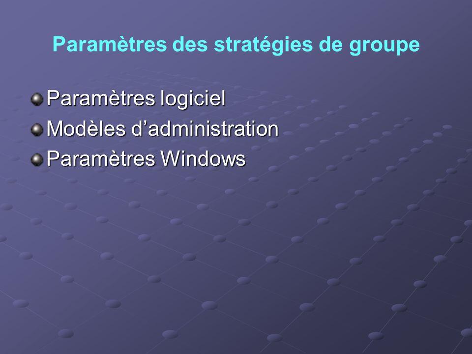 Paramètres des stratégies de groupe