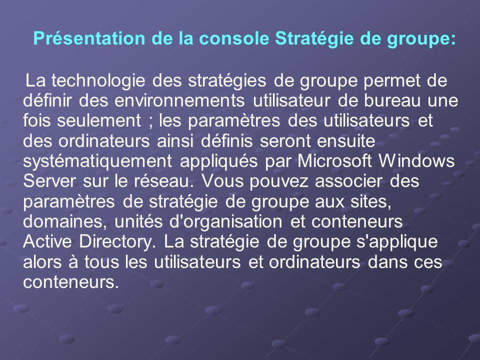 Présentation de la console Stratégie de groupe: