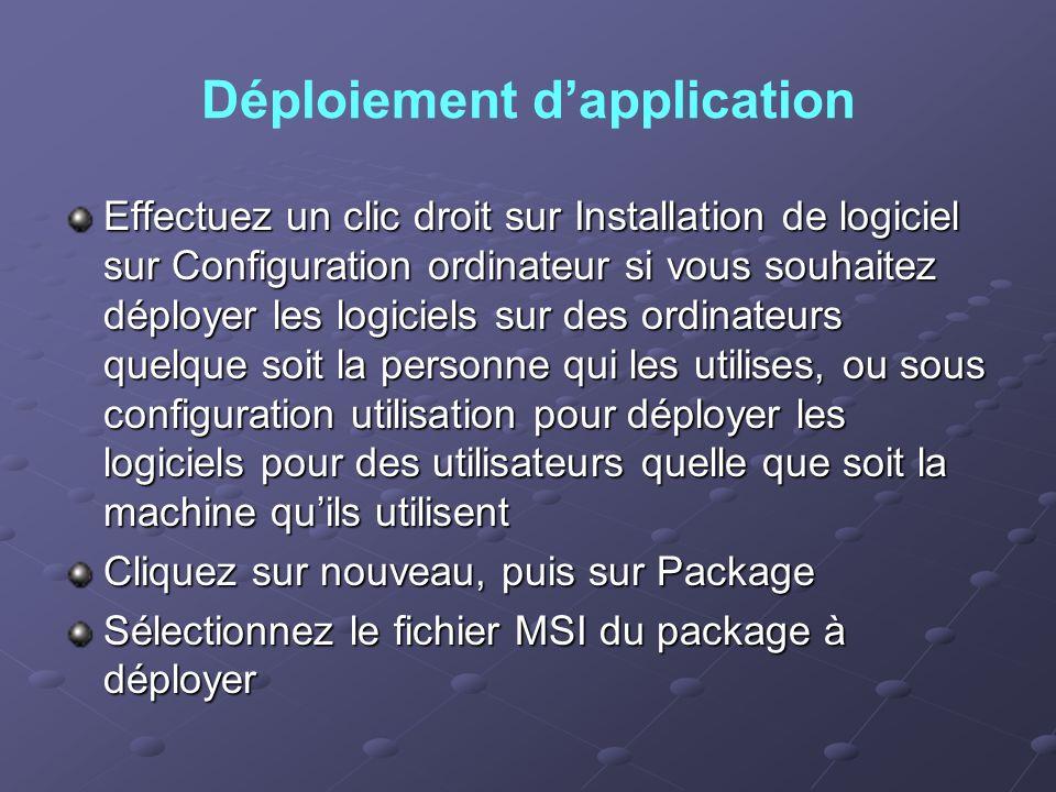 Déploiement d'application