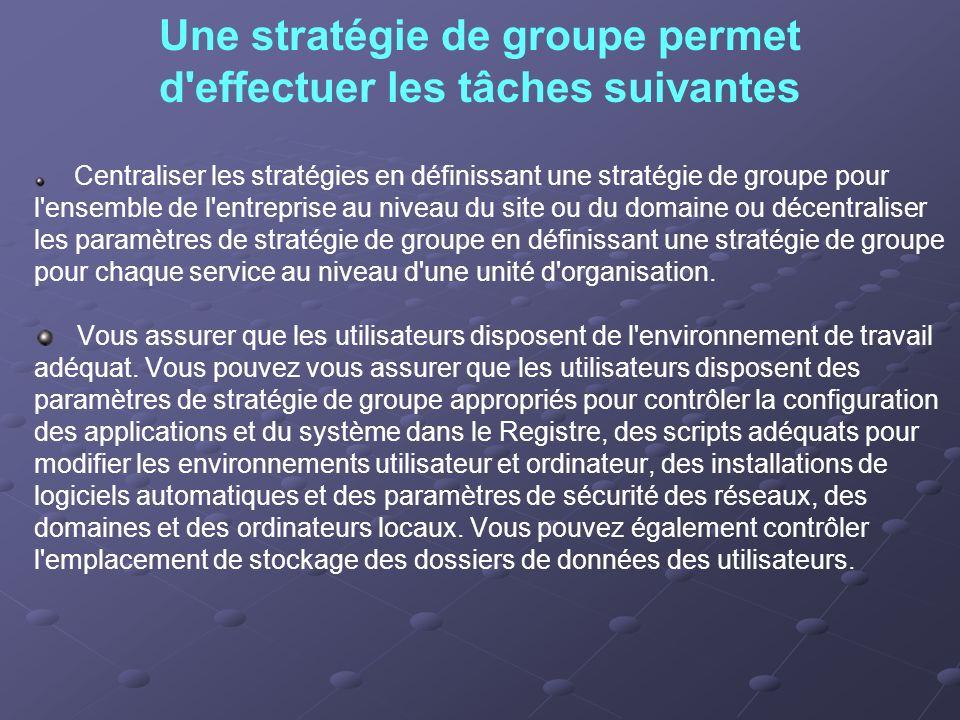 Une stratégie de groupe permet d effectuer les tâches suivantes