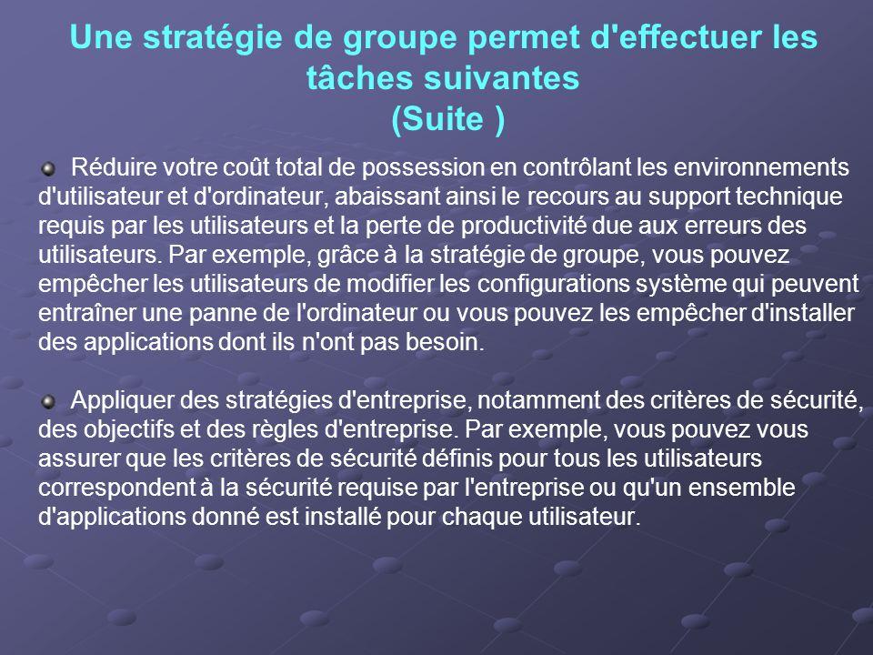 Une stratégie de groupe permet d effectuer les tâches suivantes (Suite )