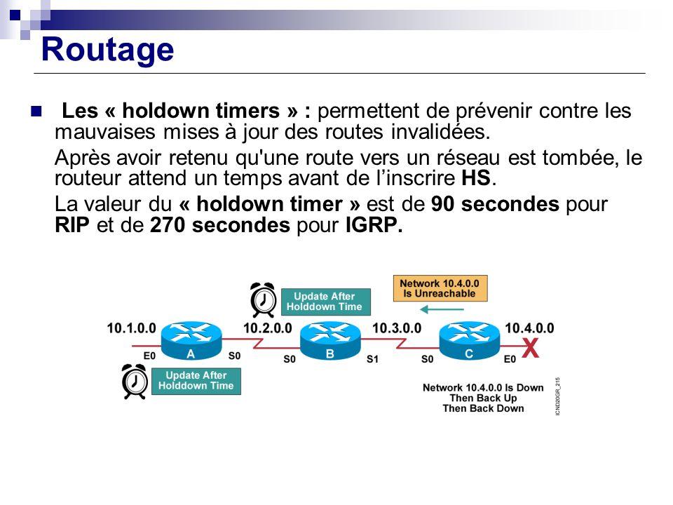 Routage Les « holdown timers » : permettent de prévenir contre les mauvaises mises à jour des routes invalidées.