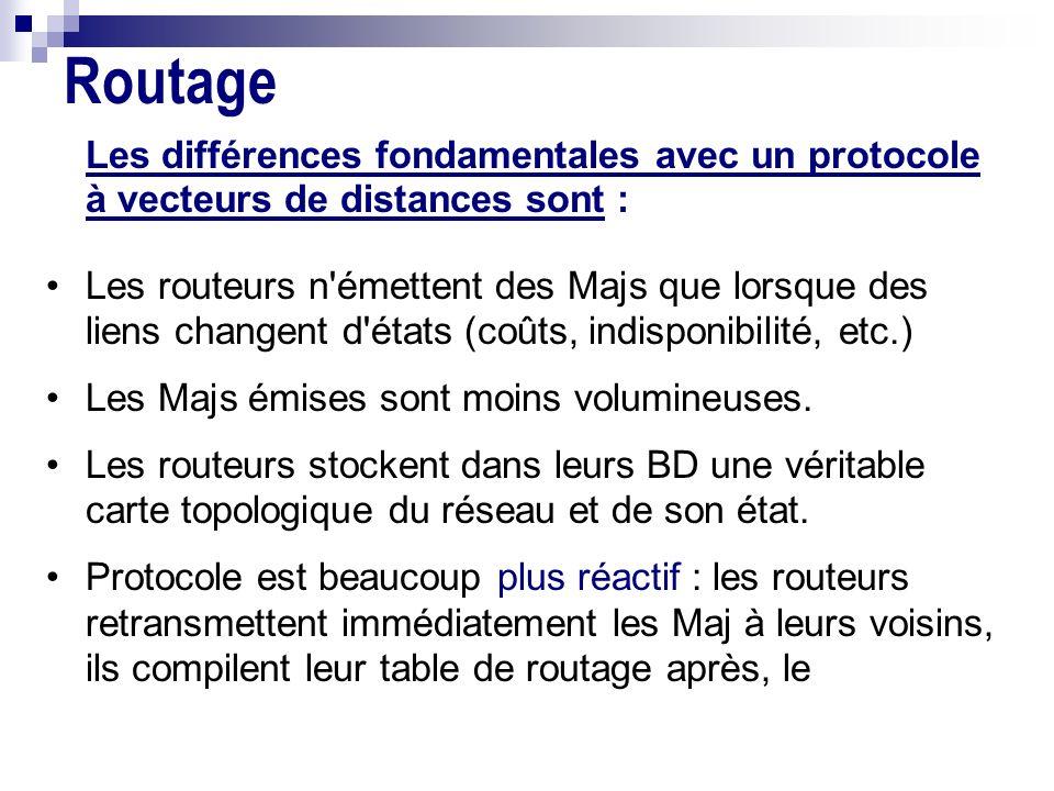 Routage Les différences fondamentales avec un protocole à vecteurs de distances sont :
