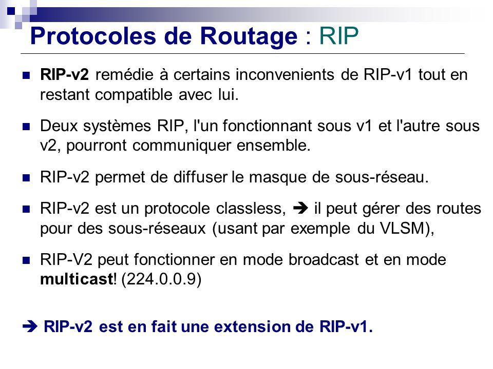 Protocoles de Routage : RIP