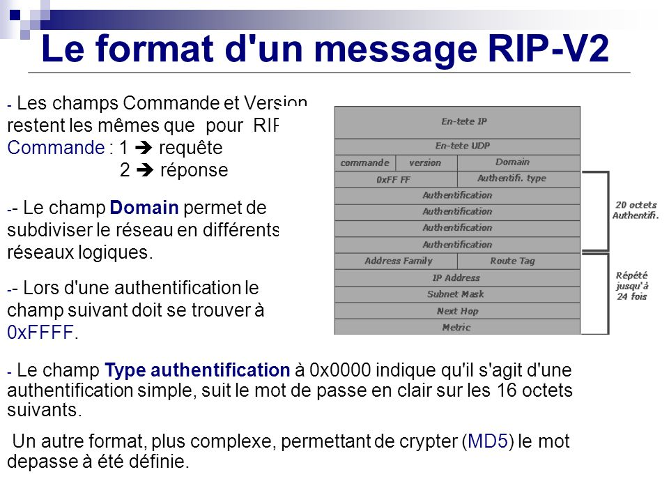 Le format d un message RIP-V2