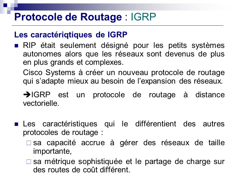 Protocole de Routage : IGRP