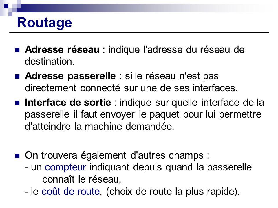 Routage Adresse réseau : indique l adresse du réseau de destination.