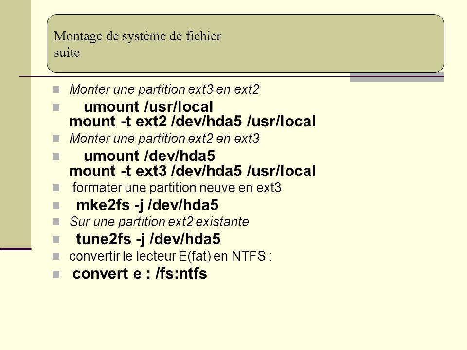 Montage de systéme de fichier suite