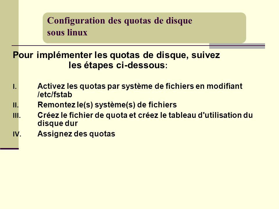 Configuration des quotas de disque sous linux