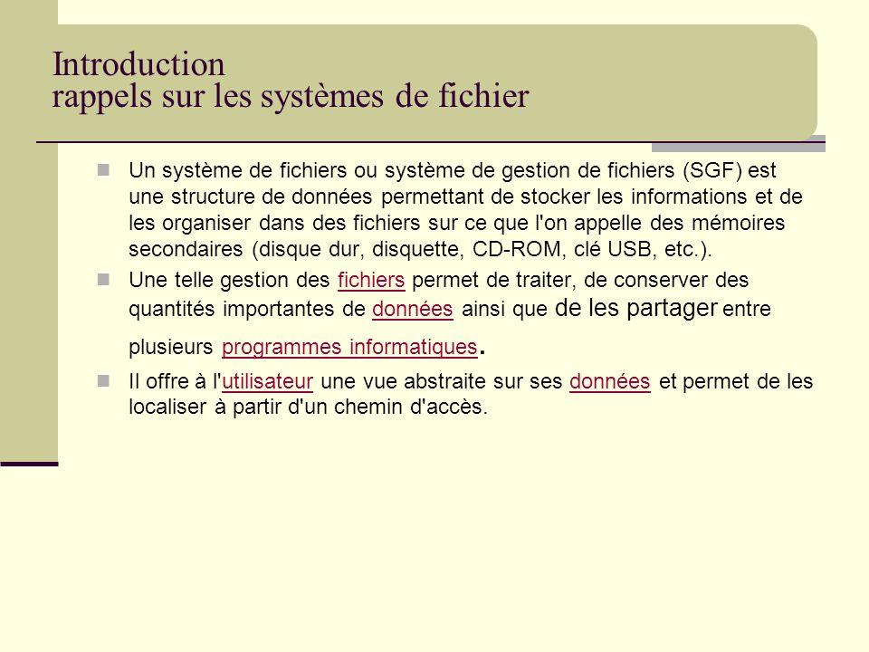 Introduction rappels sur les systèmes de fichier