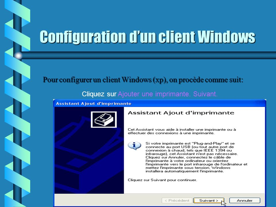 Configuration d'un client Windows