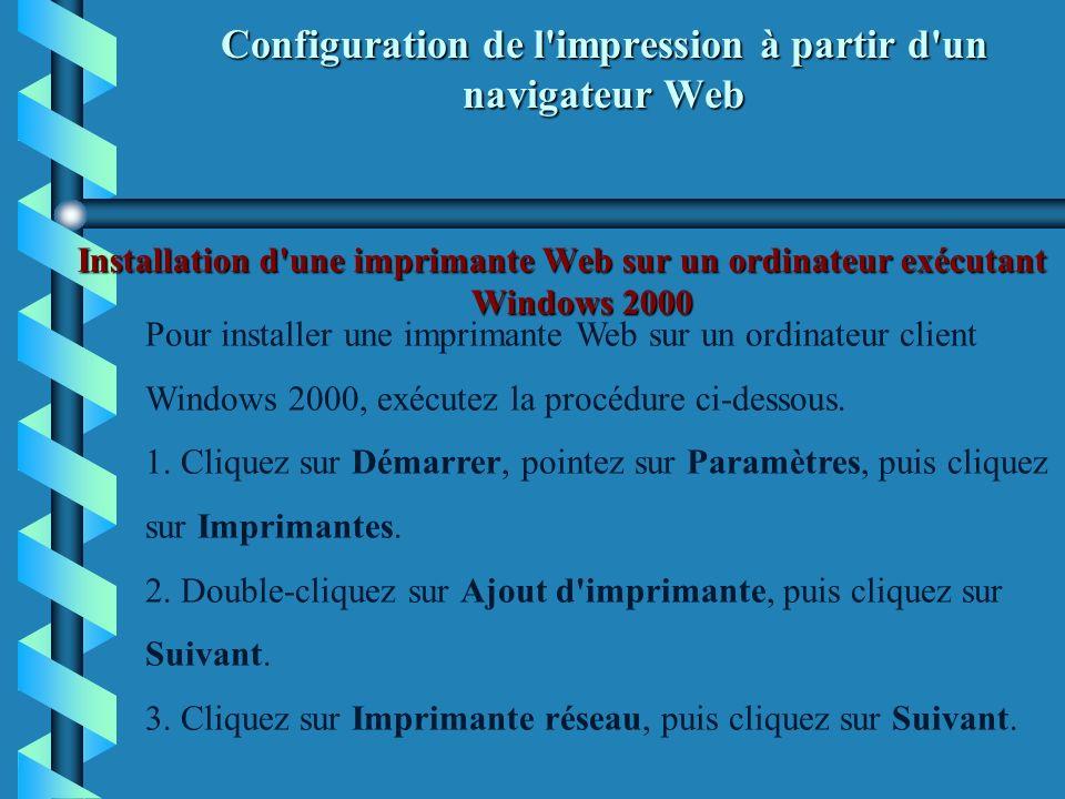 Configuration de l impression à partir d un navigateur Web