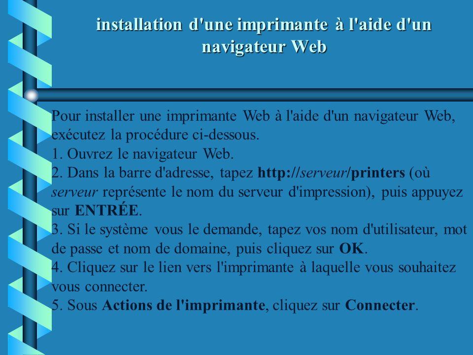 installation d une imprimante à l aide d un navigateur Web