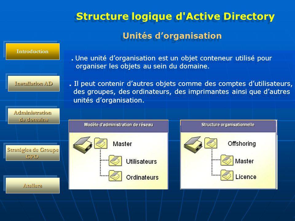 Structure logique d Active Directory