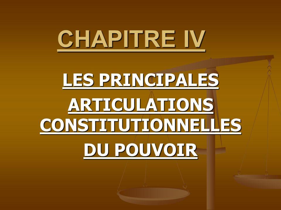 LES PRINCIPALES ARTICULATIONS CONSTITUTIONNELLES DU POUVOIR