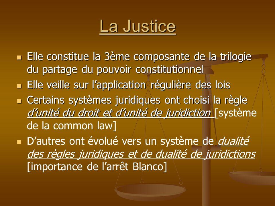 La Justice Elle constitue la 3ème composante de la trilogie du partage du pouvoir constitutionnel. Elle veille sur l'application régulière des lois.