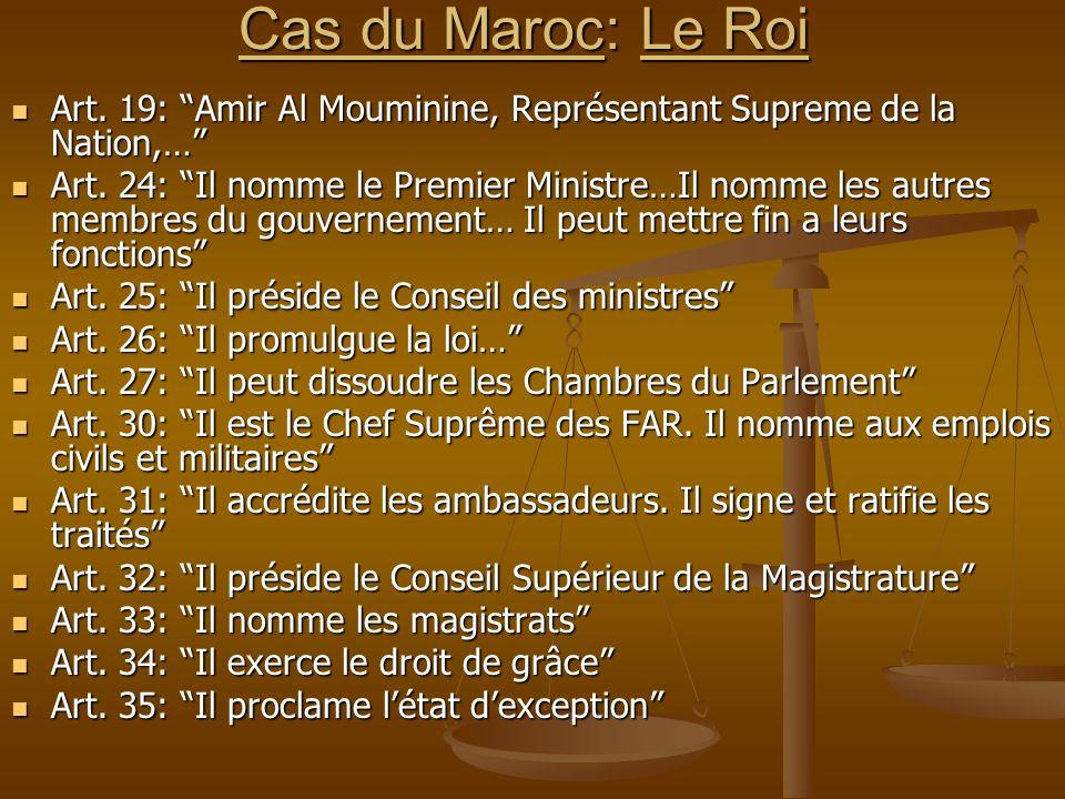 Cas du Maroc: Le Roi Art. 19: Amir Al Mouminine, Représentant Supreme de la Nation,…