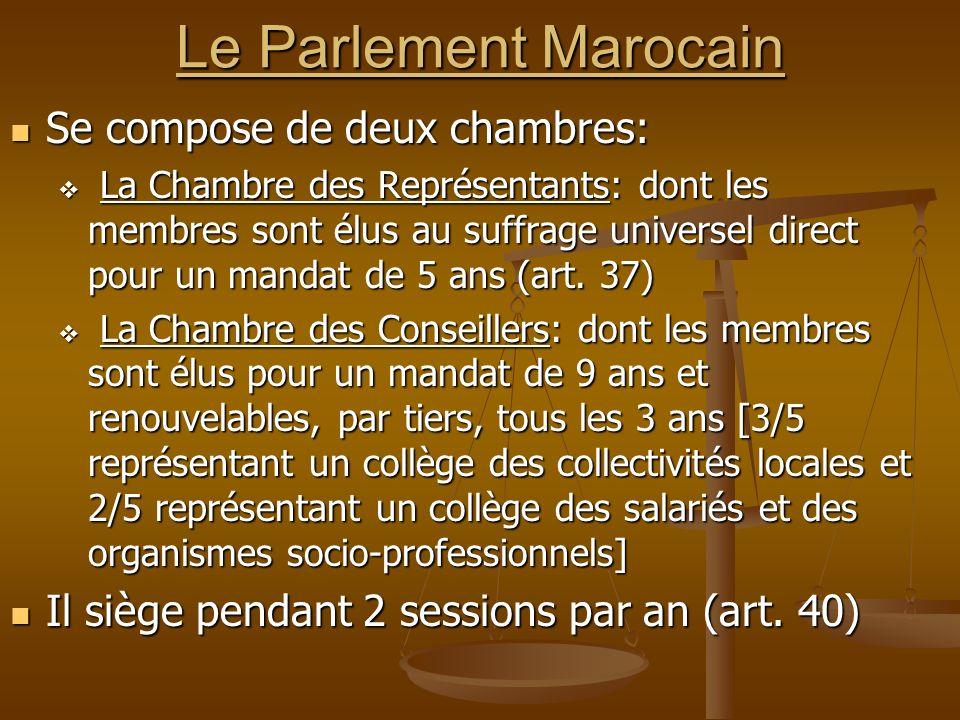 Le Parlement Marocain Se compose de deux chambres: