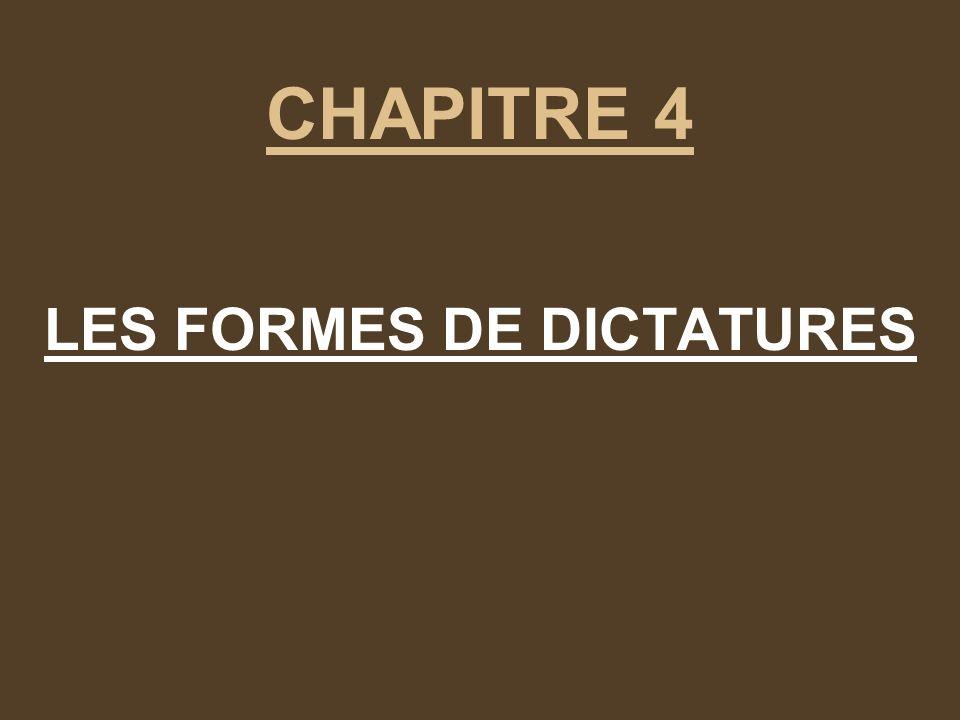LES FORMES DE DICTATURES