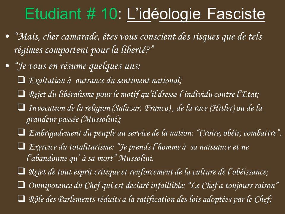 Etudiant # 10: L'idéologie Fasciste