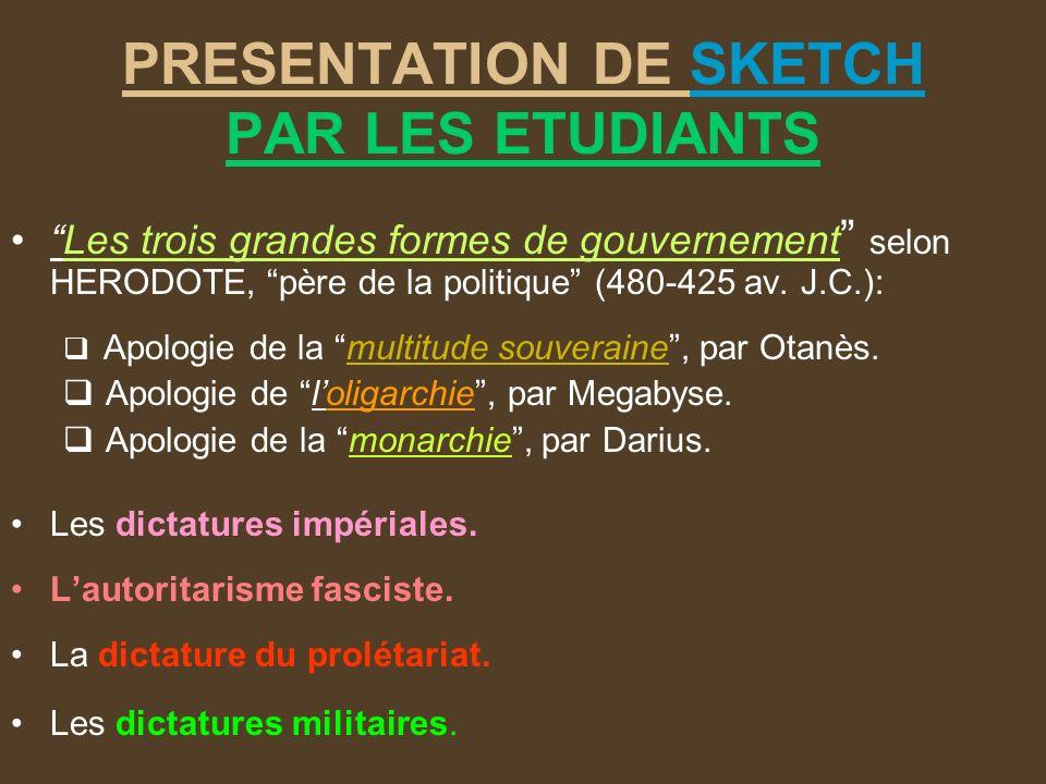 PRESENTATION DE SKETCH PAR LES ETUDIANTS