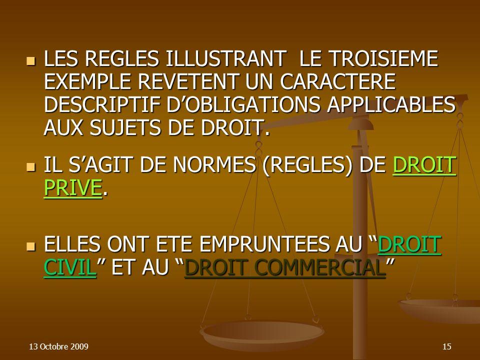 CHERCHONS D'AUTRES EXEMPLES DE NORMES JURIDIQUES