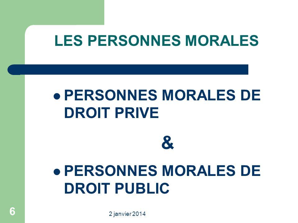 & LES PERSONNES MORALES PERSONNES MORALES DE DROIT PRIVE