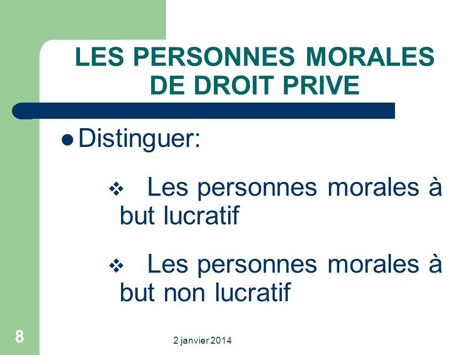 LES PERSONNES MORALES DE DROIT PRIVE