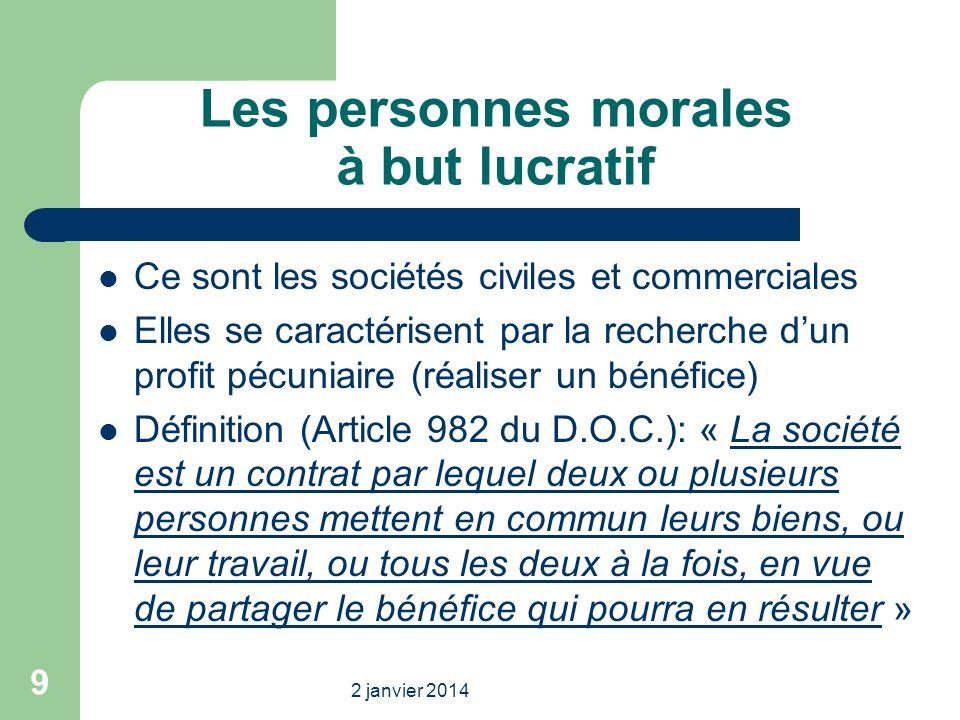Les personnes morales à but lucratif